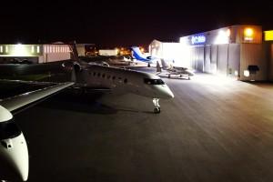 Global Aviation services Gulfstream aircraft at Portland-Hillsboro Airport