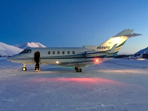 Global Aviation's Hawker 800XP pictured on Christmas night in Sun Valley, Idaho
