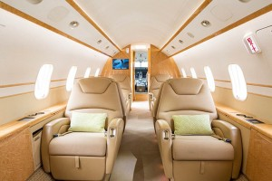Global Aviation's Challenger 300 has comfortable seating for eight passengers